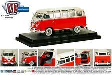 M2 MACHINES 1:24 AUTO-THENTICS 1960 VOLKSWAGEN MICROBUS DELUXE USA MODEL BUS RED