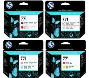 GENUINE & BOXED HP771 PRINTHEADS, 8 COLOURS IN LOT - SWIFTLY POSTED