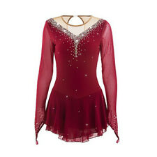 Figure Skating Dress Women's Girls' Ice Competition Performance Kids Red wine