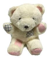 Vtg Patchwork Teddy Bear Plush Stuffed Animal Toy Hearts Brown Eyes Nose