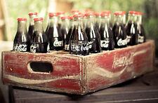 GRANDE stampa incorniciata-Vintage Coca Cola bottiglie in una vecchia cassa di legno (COKE ART)