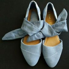 TOMS Jutti d'Orsay Bow Suede Flat Women's Size 10 Blue NEW