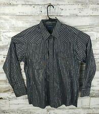 Panhandle Slim Mens 16.5 36 Western Pearl snap Shirt Black Metallic Stripes Sz L
