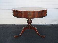 Flame Mahogany Serpentine Leather Top Round Center Side Table by Weiman 9268