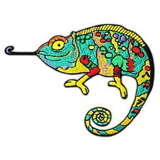 Chameleon Colorful Lizard Embroidered Iron Sew On Patch Applique Gecko Animal