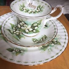 Royal Albert Flowers Of The Month ( MAY ) 1 Trio. Lily of the Valley.