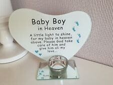 Baby Boy in heaven memorial glass heart plaque with tea light holder Remembrance