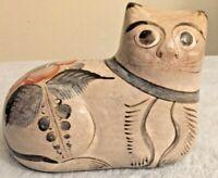 Vintage Mexican Tonala Ceramic Pottery Folk Art Hand Painted Cat Figurine Mexico