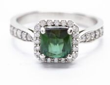 1.43ct Brazilian Green Tourmaline and 0.34ctw Diamond Halo Ring, 14k