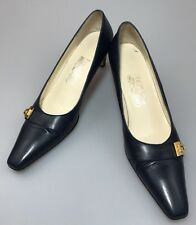 Salvatore Ferragamo Classic Pumps Navy Blue Size 7.5 AAA Wear To Work Nella