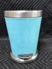 "VTG Waste Basket / Trash Can - Aqua / Turquoise - 10"" Tall"