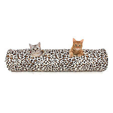 Kitten Cat Tunnel Leopard Print Crinkly Rabbit Foldable 2 Holes Play Tunnel Toy