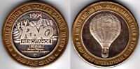 Casino Token: Bi-Metallic: .999 Silver/Brass: Reno/Tahoe Airport, Balloon, 1995