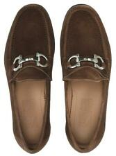 NEW SALVATORE FERRAGAMO BOND BROWN SUEDE LEATHER GANCINI LOAFERS SHOES 9.5 EE