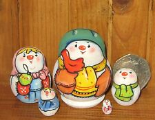 Russian tiny Stacking Doll Snowman hand painted UNIQUE Matrioschka Latisheva ART