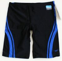 Speedo PowerFlex Black & Blue Quantum Spliced Jammer Swimsuit Youth Boy's NWT