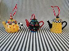 Lot Of 3 Set Mary Engelbreit Yellow & Black Polka Dots Checks Tea Pot Ornaments