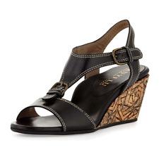 "$395 Anyi Lu ""lolita Black Leather Buckled Low Wedge Sandal Shoe 38"