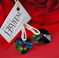 925 STERLING SILVER EARRINGS CRYSTALS FROM SWAROVSKI® 14MM HEART - RAINBOW DARK