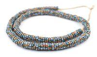 Teal Chevron-Style Aja Krobo Beads 11mm Ghana African Multicolor Disk Glass