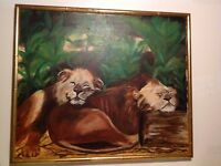 AMAZING ALL ORIGINAL ART BY TROUP 1984 SLEEPING FEMALE LIONESSES BAMBOO FRAME