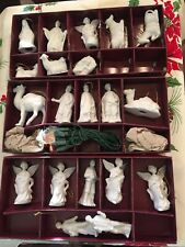 Vtg Rare 1984 Roman Inc White Christmas Nativity Ornaments Light Covers Retired