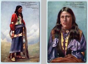 2 Postcards HIAWATHA ~ Tuck Oilette NATIVE AMERICAN Indian Longfellow ca 1910s