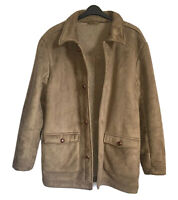GREENWOODS Men Gent Sz M Faux Fur Shearling Coat Brown Autumn/Winter Warm Vegan