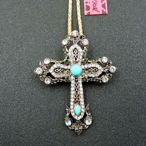 White Crystal Cross Crucifix Betsey Johnson Pendant Chain Necklace/Brooch