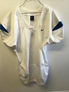 Nike Team College Authentic Blank Football Jersey White with Navy 3XL