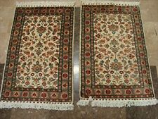 Ivory Flowers Medallion Hand Knotted Rug Wool Silk Carpet Pair (3 X 2)'