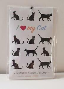 I Love My Cat Lavender Scented Sachet, Black Cats