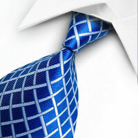 NEW BLUE WHITE STRIPES CLASSIC MEN'S CHINA SILK WEDDING TIE UK SELLER GIFT