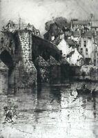 HEDLEY FITTON ARTIST PENCIL SIGNED ETCHING OF BRIDGE LANDSCAPE