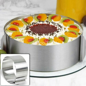 """Adjustable Round Stainless Steel Mousse Cake Ring Layer Baking Mold Silver 6/12"""""""