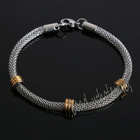 Unisex Men's Punk Stainless Steel Chain Wristband Cuff Bangle Bracelet Jewelry