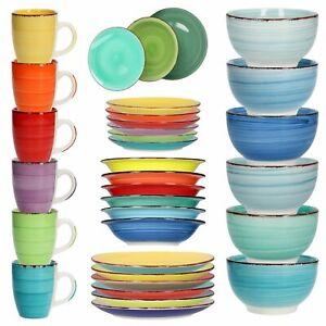 6er Set Geschirr Essteller Schalen Kaffeebecher Schüssel Suppe