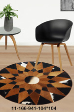 New 100% Cowhide Leather Round Rug Cow Skin Patchwork Area Carpet 11166