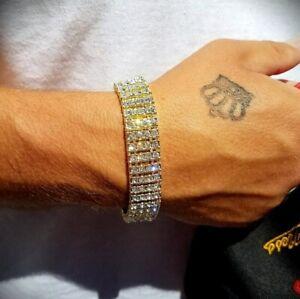 MEN'S HIP HOP GOLD PLATED QUAVO 4 ROW LAB DIAMOND TENNIS FULL ICED BRACELET