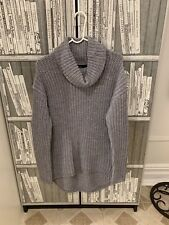 6a24ad1f3 Forever 21 Cowl Neck Cable Chunky Knit Asymmetrical Hem Sweater S Small Grey