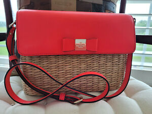 Kate Spade New York Woven Wicker Straw Leather Satchel Shoulder Bag