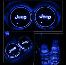 for Jeep 2PCS Auto Interior Atmosphere Light Colorful New LED Car Cup Holder Pad
