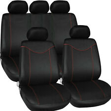 9PCs Sporty Racing Full Car Seat Cover Set Auto Protector Covers Front Rear Seat