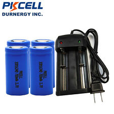 4x PKCELL 16340 CR123A 700mAH 3.7V Li-ion Rechargeable Battery + Smart Charger