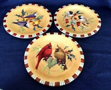 """LENOX Winter Greetings Everyday by Catherine McClung 8-1/2"""" Salad Plate-Set of 3"""