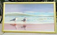 Hal Singer, Framed Seascape Oil on Canvas Seagulls on the Beach