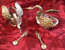 Pair Sterling Silver Glass Salters with Spoons