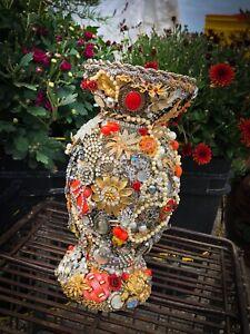 OOAK Collage Art Upcycled VTG Jewelry Rhinestone Encrusted Pillar Candleholder