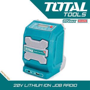 Total Tools Lithium-ion Job Radio Cordless 20v Bluetooth, AUX & USB Body Only