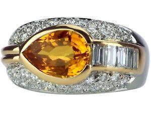 18 K 750 Weißgold Gelb Gold 1,38ct Brillant 2,20 ct Gelber Saphir Damen Ring!